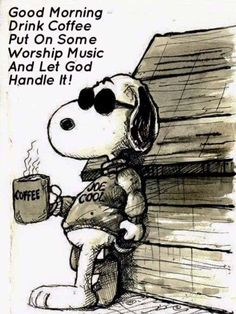 Good Morning - Harley Davidson Joe Cool with Coffee Snoopy Love, Charlie Brown And Snoopy, I Love Coffee, My Coffee, Drink Coffee, Coffee Angel, Coffee Music, Coffee Break, Coffee Life