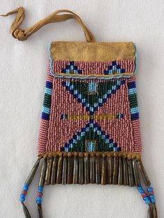 Beautiful Old Native American Indian Plains Style Beaded Pouch Bag with Tin Trim | eBay