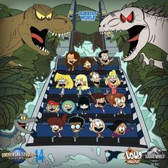 The Louds ride Jurassic World: The Ride! by on DeviantArt Loud House Sisters, Animated Cartoon Movies, Loud House Fanfiction, The Loud House Lincoln, The Loud House Fanart, Loud House Characters, Nickelodeon Cartoons, Cartoon Crossovers, Star Vs The Forces Of Evil