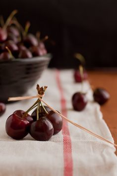 Red Cherries on Red Striped Flour Sack Towel