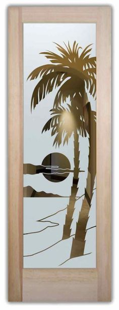 Palm Sunset Frosted Glass Door - Negative, semi-private effect by Sans Soucie Art Glass.
