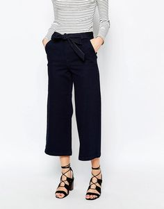 Warehouse+Denim+Tie+Waist+Culottes
