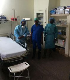 Maternal Childhealth Advocacy International | LIBERIA - Three nurses in the newly opened critical care unit at Phebe Hospital.  Pictured centre in dark blue is Peter S Sumo, Head Nurse in charge of the CC unit.