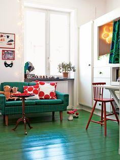 green floor. Bed.