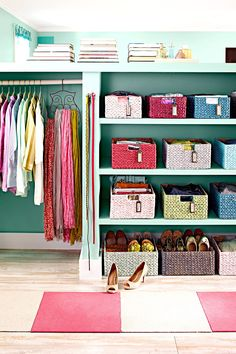 Storage baskets are an inexpensive way to perk up a plain closet. Colorful mix-and-match baskets with labels easily sort different types of clothing and accessories. #storage #basketstorageideas #clothesstorage #closetorganization #bhg Madison Square Garden, Closet Storage, Closet Organization, Smart Storage, Organization Ideas, Storage Baskets, Storage Spaces, Modern Closet, Furniture Making