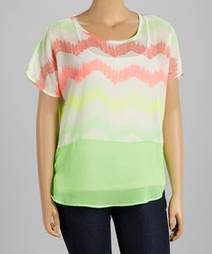 Pink and Lime Zig Zag Swing Top
