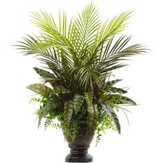 Features:  -A diverse variety of leaves.  -Beautiful lifelike arrangement.  -Decorative planter included.  -Makes a great gift.  -Product may need to be re-shaped when removed from box.  -Wipe clean w