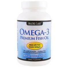 Madre Labs, オメガ-3プレミアムフィッシュオイル、遺伝子組み換え原料なし、グルテンフリー、 100 魚ゼラチン製ソフトジェル