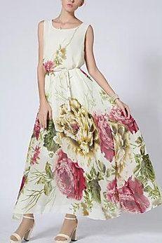 Floral Print Vest Chiffon Maxi Dress