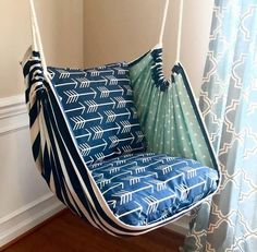 Excited to share this item from my shop: Hammock Chair Swing - Reading Chair - for Kids and Adults!This Hammock Swing Hanging Chair Premier Navy Arrows is just one of the custom, handmade pieces you'll find in our home & living shops. Hanging Swing Chair, Hammock Swing Chair, Swinging Chair, Diy Hammock, Hammocks, Indoor Hammock, Rustic Furniture, Diy Furniture, Luxury Furniture
