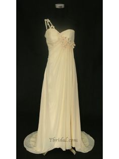 A-Line Strapless Brush Train Chiffon Beading and Applique Prom Dress SAL0853