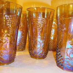 9 Amber Carnival Grapes & Leaves Drinking Glass Iced Tea Tumblers Coolers