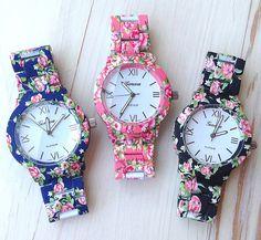 New Fashion Flower Geneva Watches Japan Movt Quartz  Wristwatches Women Dress Watches