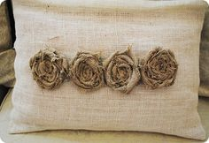 burlap flower pillow