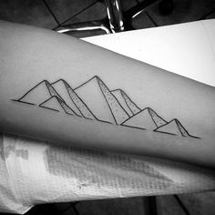 Mountains Forearm Minimalist Guys Tattoo