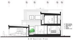 Plano de sección B-B de casa de dos pisos