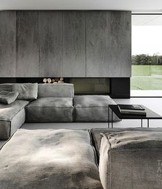 ♂ Neutral grey living room design home deco