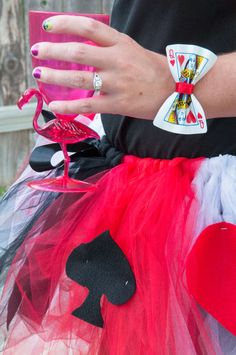 Queen of Hearts Costume- Playing Card bow bracelet