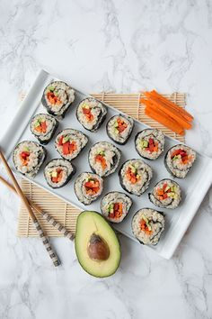 I have always loved going out for sushi. If I could eat sushi every day I probably would. These vegan maki rolls are the perfect lunch or light dinner option. If you're having company over they also make for a great appetizer.