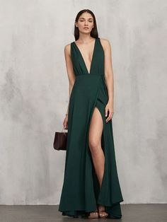 """Reformation Sophia Dress in Sycamore [ Reformation Dresses Perfect for a Fall Wedding via """"Last-minute shoppers, we're talking to you!"""", """"LOve the color, love the deep v"""", """"Sophia Dress in Sycamore"""" ] # # # # # # # # # # V Neck Prom Dresses, Evening Dresses, Bridesmaid Dresses, Bridesmaids, Dress Outfits, Dress Up, Dress Night, Trendy Dresses, Formal Dresses"""