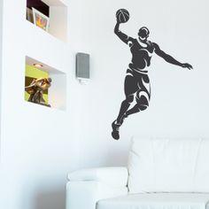 #vinilodecorativo de un jugador de #baloncesto atacando la canasta www.stickersports.com