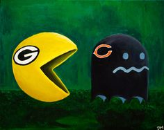 Green Bay Packers Vs Chicago Bears Art Print by MinxPaints, $12.00