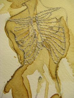 "Lovely anatomical art by Lynz Mayfield  Rupture - 9""X12"" Coffee, Pencil, Ink, Thread"