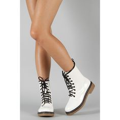 Frankie Hi Patent Lace Up Mid Calf Boot ($31) ❤ liked on Polyvore