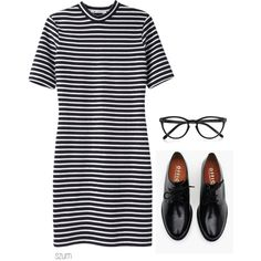 Geek Chic ;) B/W striped tee dress & black oxfords w/black plastic frames (getting mine soon!)