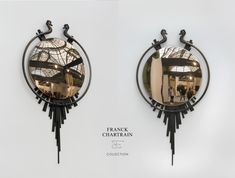 ETRUSQUE MIRROR  Bronze by Franck Chartrain Collection® Bronze Mirror, Bronze Ring, Art Furniture, Horse Face, Taking Shape, Clock, Screens, Mirrors, Accessories
