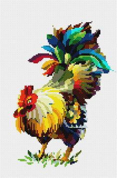 Rooster Cross Stitch, Chicken Cross Stitch, Cross Stitching, Cross Stitch Embroidery, Cross Stitch Landscape, Roosters, Cross Stitch Designs, Pixel Art, Needlepoint