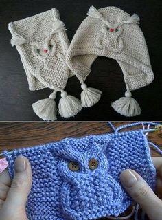 Stricken Sie Perky Little Hat Free Knitting Pattern & Diy Projekt Kids Knitting Patterns, Owl Patterns, Baby Hats Knitting, Crochet Baby Hats, Knitting For Kids, Crochet Patterns, Diy Crafts Knitting, Knitting Projects, Knitted Owl