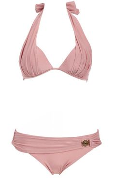 Pink Ruched Push-Up Top with Foldover Bikini Pant