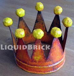 cutest paper mache crown fit for a little prince Paper Clay Art, Paper Mache Clay, Paper Glue, Fun Crafts, Crafts For Kids, Arts And Crafts, Paper Crafts, Paper Mache Projects, Craft Projects
