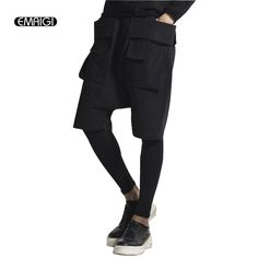 Men casual pants men's multi pocket trousers fashion short pant +legging two sets pant male street hip hop sweatpants SK19