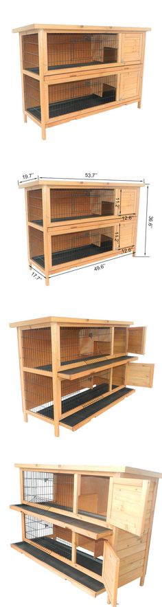 Cages and Enclosure 63108: Pawhut Wood Rabbit Hutch Bunny Small Animal Habitat Water Resistant 2 Stories -> BUY IT NOW ONLY: $153.99 on eBay!