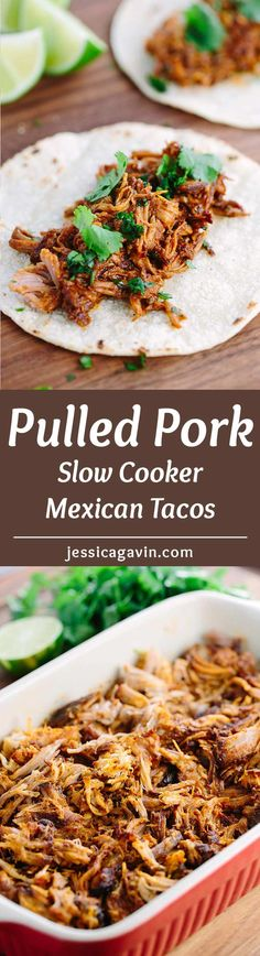 Slow Cooker Mexican Pulled Pork Tacos - Tender pork is simmered in a spicy-sweet mole sauce and filled in warm corn tortillas. via @foodiegavin