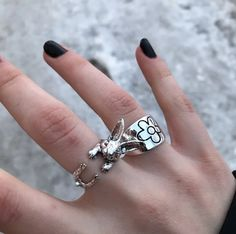 #rubbitring #aestheticring #aestheticjewelry #grungering #grungejewelry Aesthetic Rings, Aesthetic Look, Aesthetic Fashion, Grunge, Statement Rings, Rabbit, Product Description, Gifts, Beautiful
