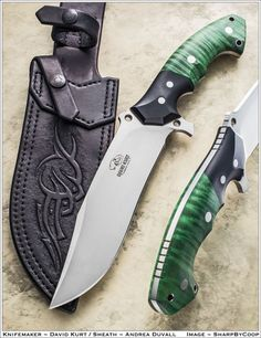 Green curly maple with black G-10 bolster custom | David Kurt Handmade Knives…