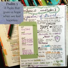 I've been struggling lately so I decided to take a break from my Romans Bible Journaling and spend some time in my favorite Psalm.  Psalm 3 never fails to encourage me when my situation seems hopeless.  I love verse 3 and the image of God gently lifting my head.  What could be better than that???