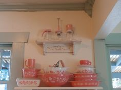 I have the same pink Cinderella mixing bowls in the middle from my mother-in-law!  Treasures!