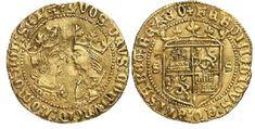 Medio Castellano - Mneda de oro del reinado de los Reyes Católicos (1475-1497) con un peso de 2.3 gramos y una medida de 21 mm.