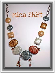 Polymer Clay Mica Shift Pillow Bead Cabochon Necklace, via Flickr.