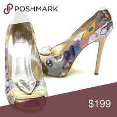 "Versace Peep Toe Platform Heels Heart crystal AUTH These are in excellent condition with almost no signs of wear on top and only minor scuffing on the sole. Colorful pastel print lined in metallic gold leather, distinctive yellow sole and slender wooden heel. Size 39 1/2 fits like 9. I will size them as 9. 5"" heel, 1"" platform, 9 7/8"" insole. Beautiful. Versace Shoes Heels"