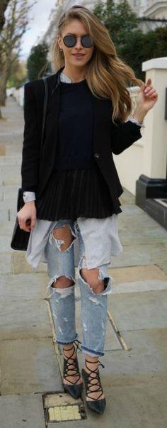 Maja Malnar + destroyed jeans trend + mom jeans + rip detailing + must have + edgy spring look + laced heels + black blazer + oversized shirt.   Jeans/Shirt: Zara, Sweater: Sandro, Shoes: Topshop, Blazer: Helmut Lang, Bag: Saint Laurent.