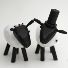 sheep wedding cake toppers from bunnywithatoolbelt.com