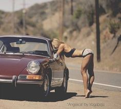 Cafes,tits and other bits. #porsche #cargirl
