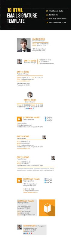 Outlook Email Signature, Html Email Signature, Email Signature Templates, Html Email Templates, Email Footer, Responsive Email, Email Newsletter Design, Email Design, Signature Ideas
