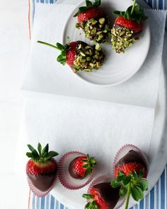 It's easy to make your own version of this luscious treat: Just dip large strawberries in melted semisweet chocolate and then coat in finely chopped pistachios (or any other nut). These are best made the day you want to serve them, as condensation may form on the chocolate if they stay in the refrigerator for too long.
