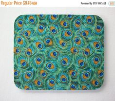 SALE - mousepad / Mouse Pad / Mat - Rectangle or round - Peacock Feathers home office decor coworker gift